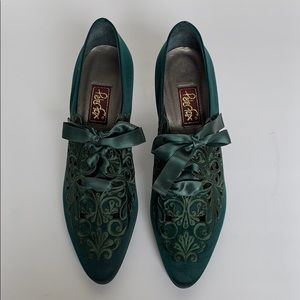 PETER FOX Forest Green Satin Lace-Up Swirl Heels